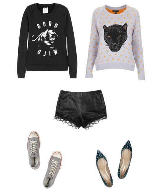How She'd Wear It - Lace shorts and sweatshirts