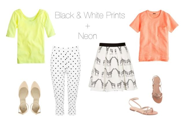 How She'd Wear It - black and white prints + neon